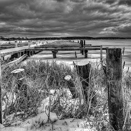 Still life on the Bay by John Witt - Black & White Landscapes ( boat docks, lake ontario, docks, sous bay, sodus )