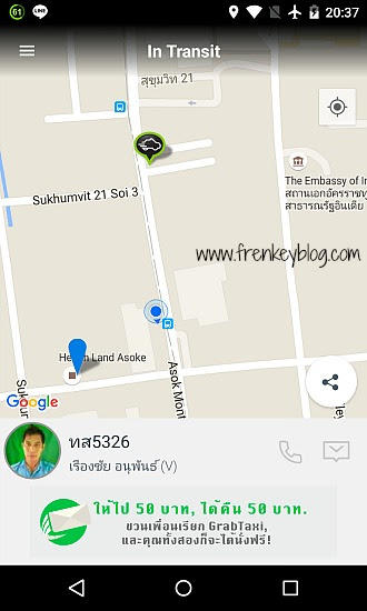Map Grab Taxi ke Health Land Asoke