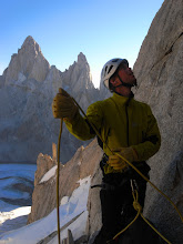 Photo: Kasper belaying on of the first pitches on Cerro Torre
