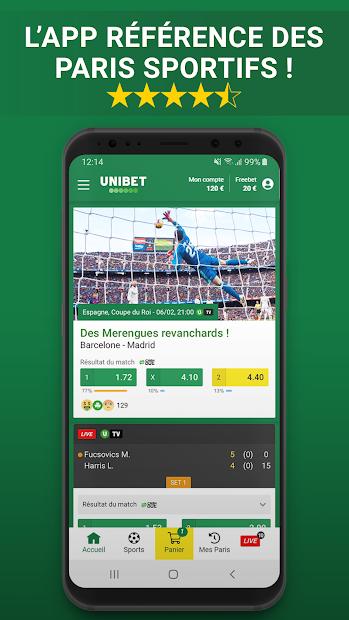 Unibet Paris Sportifs Android App Screenshot