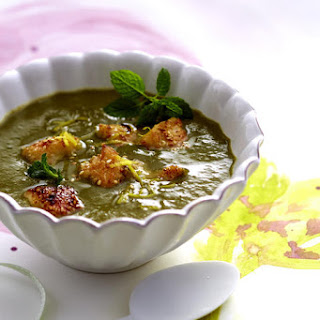 Artichoke and Spinach Soup with Sesame White Fish