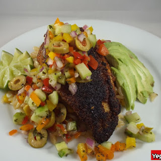Blackened Tilapia with Cucumber Pico de Gallo and Rice