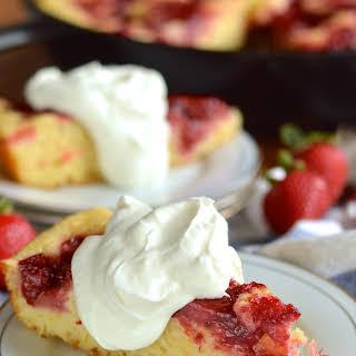 Strawberry Rhubarb Skillet Cake.