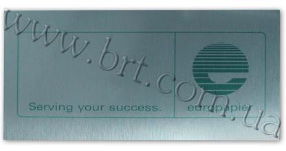 Photo: Металлическая табличка с названием организации. Заказчик: Europapier. Цветная печать, серебристая пластина