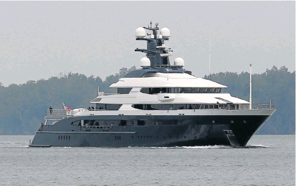 The seized luxury yacht, Equanimity, belonging to fugitive Malaysian financier Low Taek Jho, in Port Klang