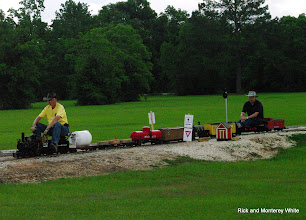 Photo: Doug Blodgett and Phillip Bell with Phillip's 1.5 inch scale, 4.75 inch gauge train.  HALS-SLWS 2009-0523