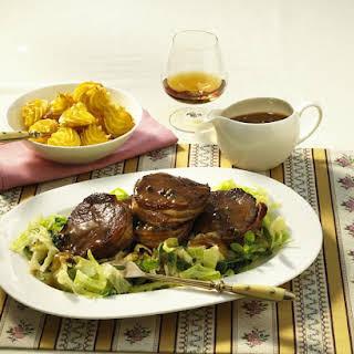 Venison with Cognac Sauce and Duchess Potatoes.