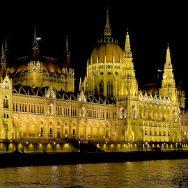 Budapest at night by Drew Tarter - Buildings & Architecture Public & Historical ( parliament, hungary, budapest, architecture, danube )