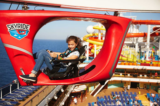 Take a spin on the Skyride and zip high above the ship (and sea) during your Carnival cruise.