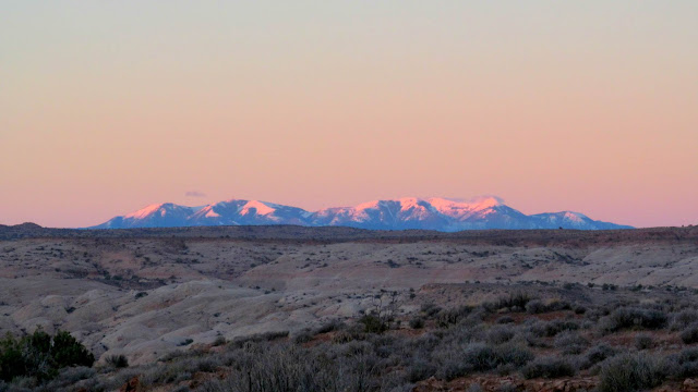Pink glow on the Henry Mountains