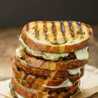 Sun Dried Tomato Spinach Grilled Cheese Sandwich.