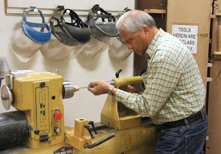 Photo: ...and Ken also drills some on another lathe.