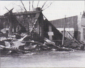 """Photo: Leather's Produce Fire - 1949- """"Sands of Time""""- This was the Harbeke Hall Building."""