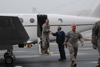 Photo: Five Soldiers from the Minnesota National Guard's Detachment 39 (Det. 39), Operational Support Airlift (OSA) returned to Minnesota Friday.  The Soldiers flew into the Army Aviation Support Facility #1 in St. Paul in the same type of aircraft they flew in theater. Photo by Sgt. 1st Class Daniel Ewer.