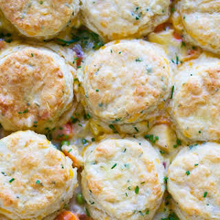 Cheesy Chicken Pot Pie with Cheddar Chive Biscuits.
