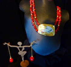 Photo: <BEREHYNYA> {Great Goddess Protectress} unique one-of-a-kind statement jewellery by Luba Bilash ART & ADORNMENT  #76 - ISLAND OF CRETE - КРІТСЬКИЙ ОСТРІВ - brass enamel pendant, red coral, 14K gold vermeil $140/set