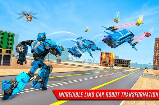Flying Limo Robot Car Transform: Police Robot Game screenshots 3