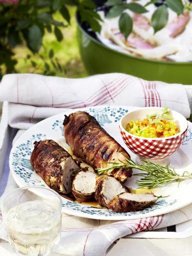 Bacon-Wrapped Pork Tenderloin with Pepper Salsa
