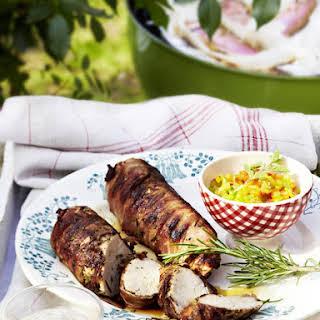 Bacon-Wrapped Pork Tenderloin with Pepper Salsa.