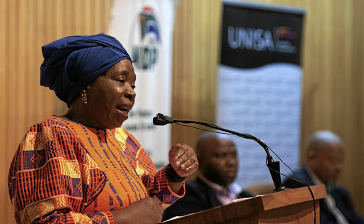 Minister Nkosazana Dlamini-Zuma delivering the fourth annual National Development Plan (NDP) lecture at Unisa yesterday.