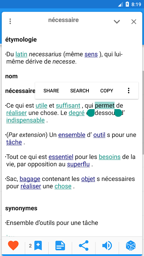 French Explanatory dictionary- screenshot