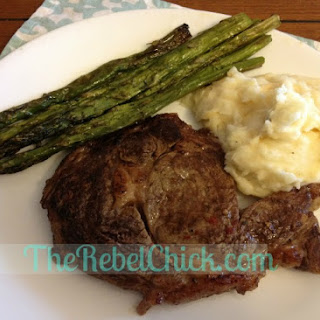 Santa Fe Chili Ribeyes with Roasted Asparagus and Cheesy Mashed Potatoes