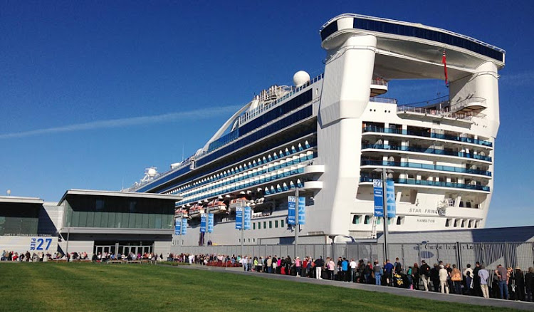Wait for your group to be called when boarding, and arrive at a designated time, as these Star Princess passengers did.