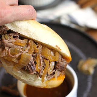 Slow Cooker Beef Au Jus Sandwiches.