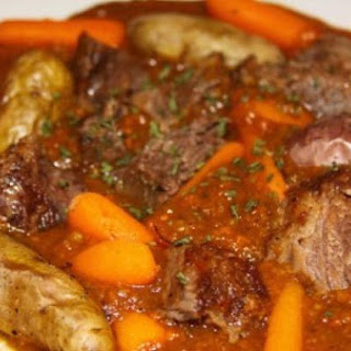 Slow Roasted Pot Roast with Veggie and Beef Gravy.