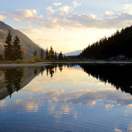 Mirror Image by Lena Arkell - Landscapes Waterscapes ( sky, mountains, canada, reflection, blue, sunset, british columbia, clouds, water, lake )