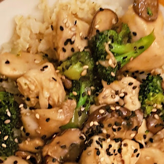 Chicken Broccoli and Mushroom Stir Fry.