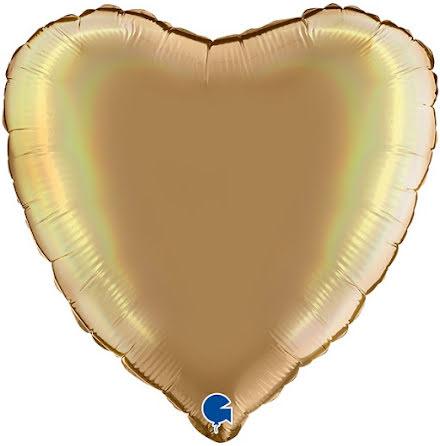 Folieballong Hjärta Rainbow - platinum champagne, 46 cm