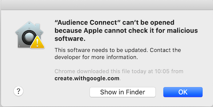 Error - Audience Connect can't be opened