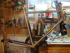 Photo: The main tubes and chainstays are mitered.  I still need to prep the bottom bracket shell, braze the internal rear brake cabling into the down tube and drill gas holes before it's ready to tack up.