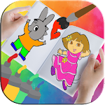 Kids Cartoons Coloring Book Icon