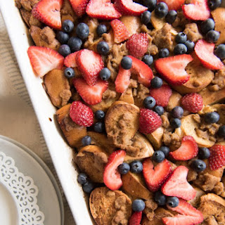 Berry Breakfast Bagel French Toast Casserole.