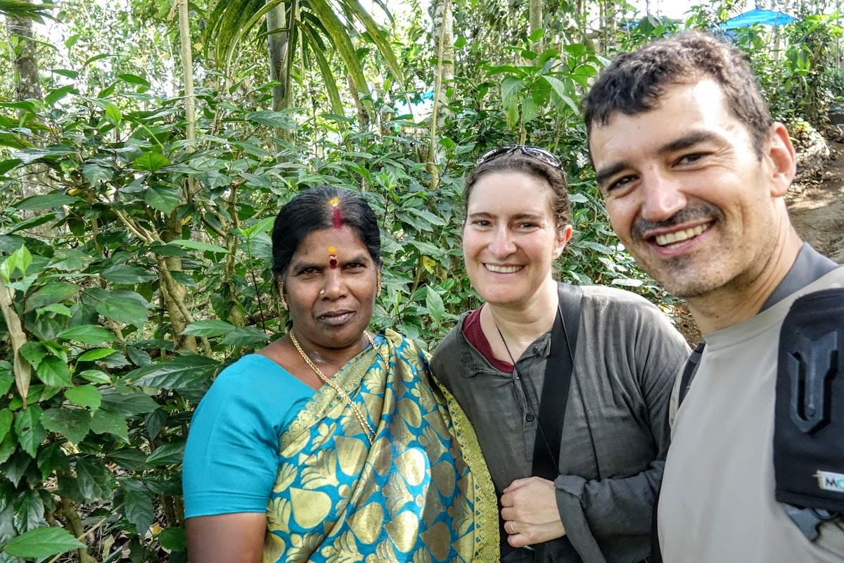India. Kerala Motorbike Road Trip. Meeting with a local village lady, Thekkady