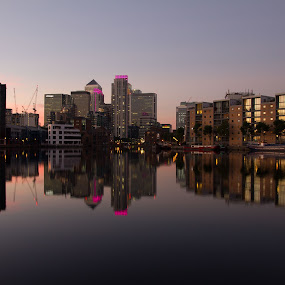 London Docklands at Night by Christine Ayre - Buildings & Architecture Office Buildings & Hotels ( reflection, london, dusk )