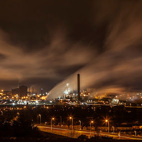 Port Talbot At Night by Simon West - Landscapes Starscapes ( car, port, bright, wales, pembrokeshire, motorway, m4, heavy, steel, smoke, iron, lights, talbot, metal, steelworks, cars, south, night, trails, industry, light )