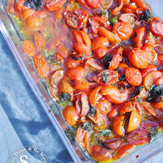 Roast Tomatoes with Garlic, Basil and Chilli.
