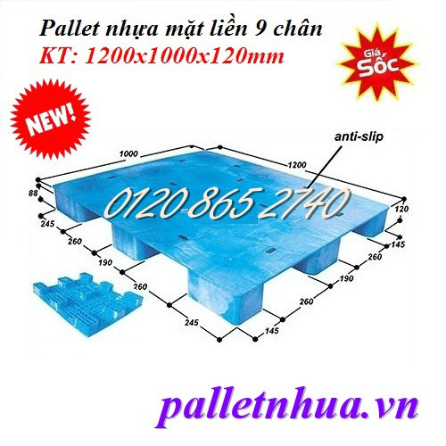 Pallet nhựa mặt liền 1200x1000