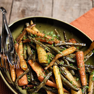 Balsamic Roasted Carrots and Green Beans.