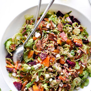 Shaved Brussels Sprouts Salad With Roasted Beets, Pecans and Goat Cheese