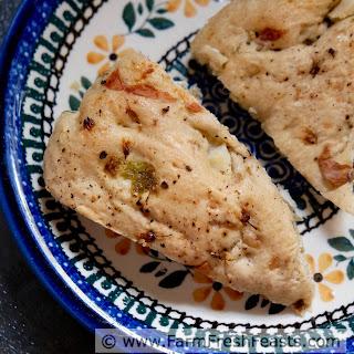 Chive Blossom and Potato Focaccia