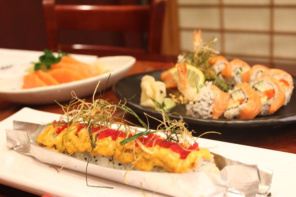 Baked Scallops, Salmon and Tempura Rolls, and Raw Fish at Ichiban Fish House
