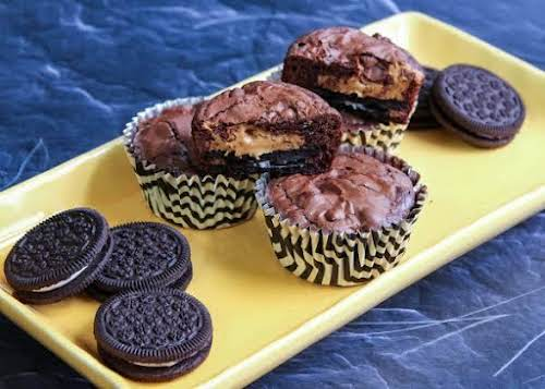 """Click Here for Recipe: Oreo Peanut Butter Brownie Cupcakes """"These little chocolate..."""