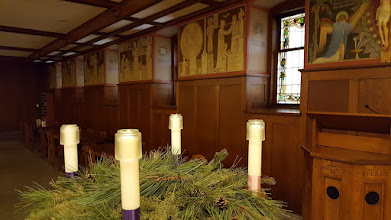 Photo: Advent wreath, abbey refectory, 5 Dec. 2018.