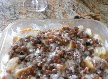 White Chocolate Pecan Caramel Bread Pudding