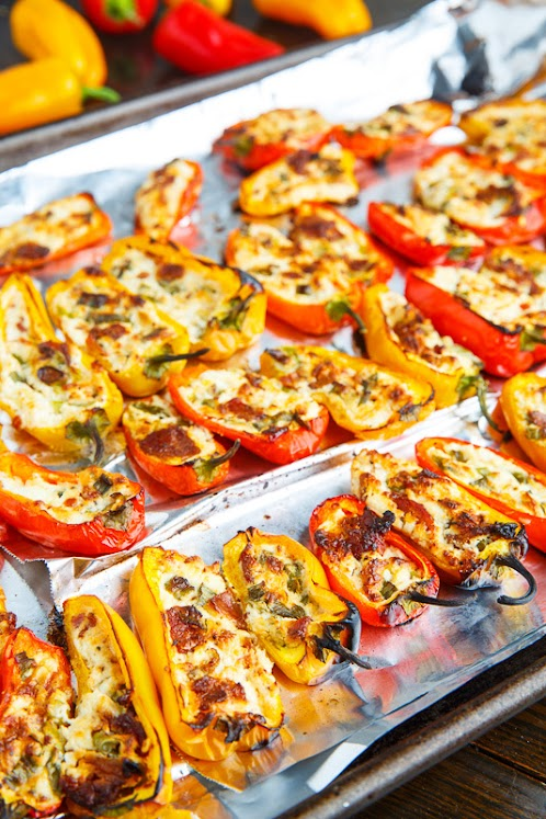 Bacon and Goat Cheese Stuffed Mini Peppers with Balsamic Sweet Chili Sauce
