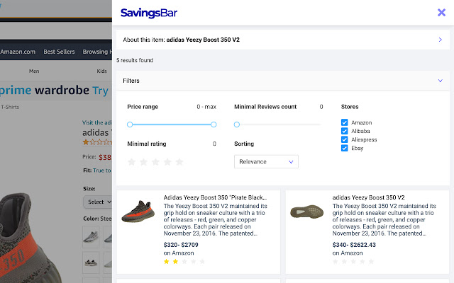 Savings Bar: Compare Prices in One Click